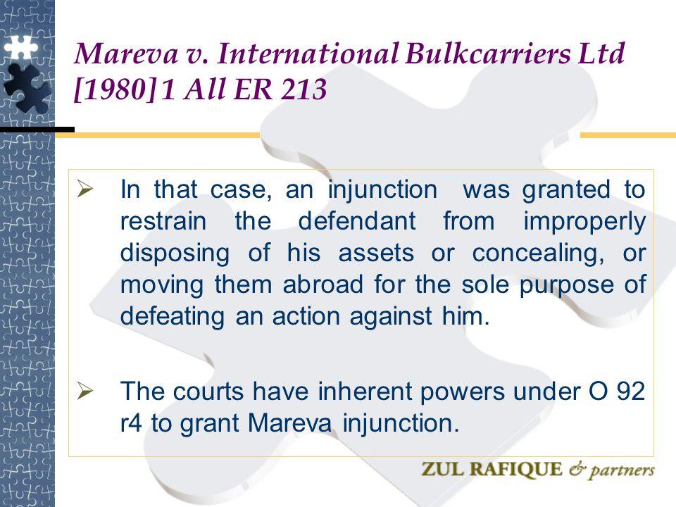 Mareva v. International Bulkcarriers Ltd [1980] 1 All ER 213